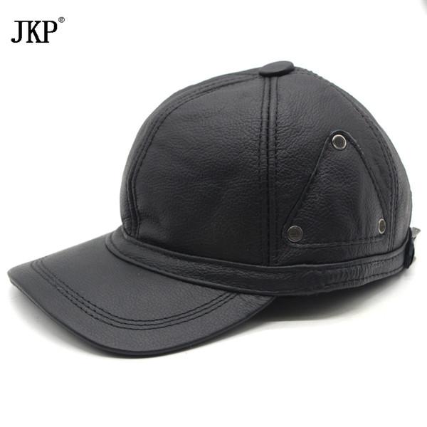 Hombres de cuero genuino gorra de béisbol de invierno sombrero de alta calidad de los hombres de piel de oveja real de las mujeres del ejército sólido sombreros ajustables