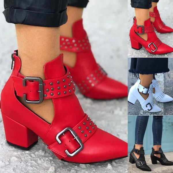 señoras de las mujeres de la vendimia del tobillo Roma punta estrecha Casual zapatos botas cortas individuales de tacones altos botas mujer Botas dames