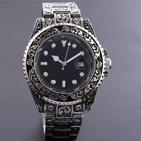 wholesale Creative Golden Men Quartz Wrist Watches 3D Dial Design Full Steel Calendar Big Watches Top Brand Luxury Clock