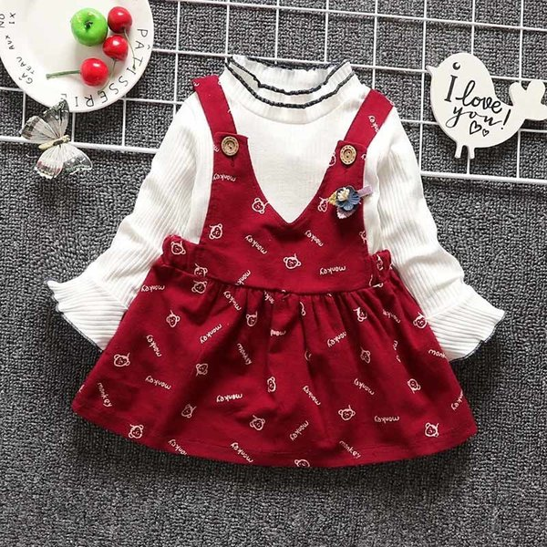 good quality spring autumn fashion girls clothing set cotton long sleeve top+dress 2pcs clothing children cute cartoon clothing sets