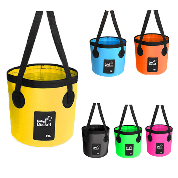 12L 20L Folding Portable Wash Basin Water Container Storage Carrier Bag Beach Water Bags Fishing Folding Bucket Travel Small Bucket M238Y