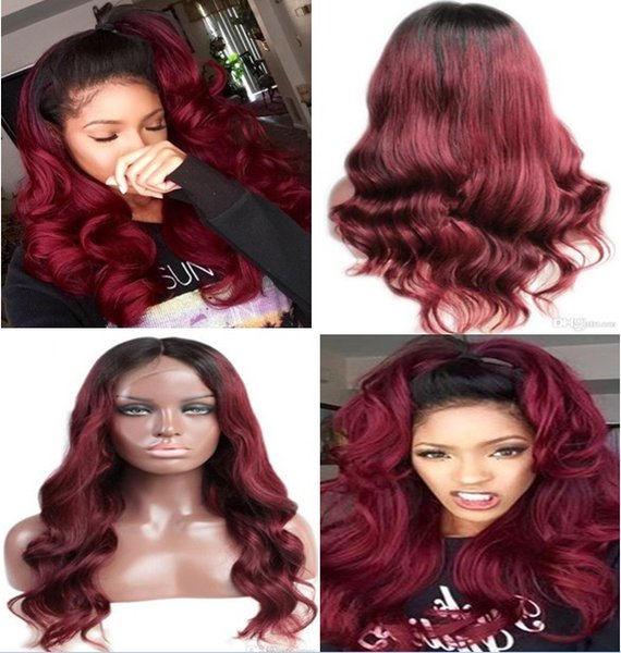 Swiss Lace Front Lace Wig Chinese Virgin Human Hair Black Root Two Tone Ombre Burgundy 1B/99J Full Lace Wig For Black Woman