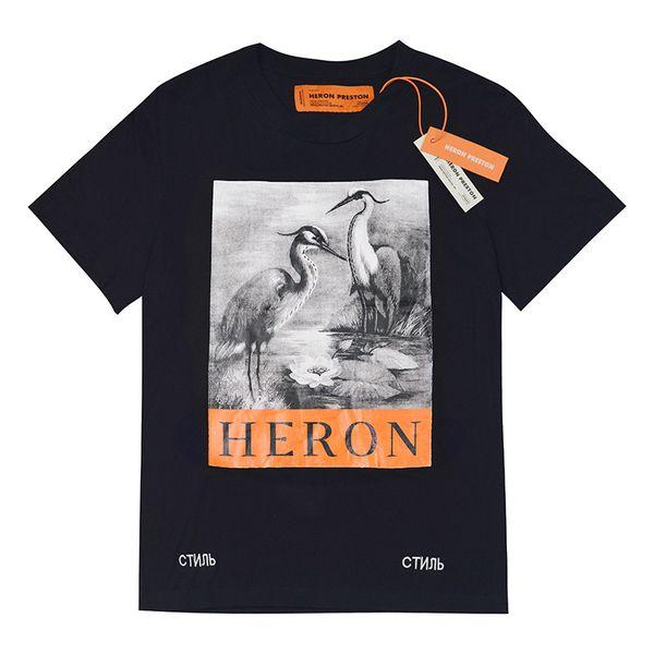 Heron Preston Designer-T-Shirt-Qualitäts-Luxus-T-Shirt Heron Preston Männer Frauen Crane Printed Hip Hop Short Sleeve S-XL