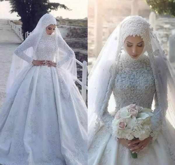 Дешевые Новый мусульманский арабский свадебное платье высоковольтной линии шеи Аппликации Длинные рукава Страна платье сад Люкс