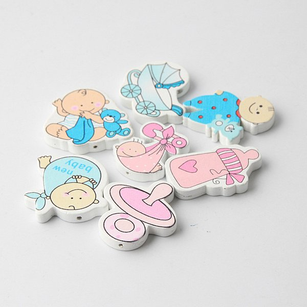 for jewelry making 20pcs DIY Cartoon Baby Series Shape Wooden For Jewelry Making Pacifier Clips Accessories Spacers Beads Crafts Toys