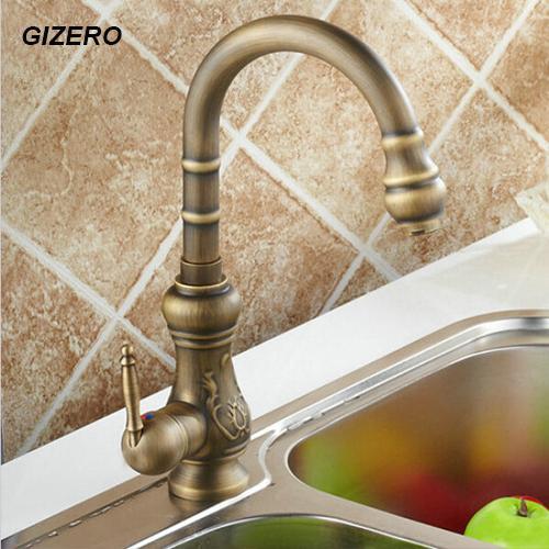 Antique Carving Faucet Kitchen Artistic Faucet Flexible Swivel Spout Vanity Sink Mixer Tap, torneira ZR129