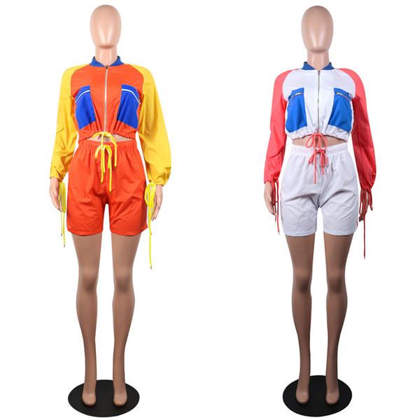 Women Shorts Tracksuit Patchwork Zipper Jacket Crop Coat+ Shorts 2 Pcs Sun Protective Outfits Summer Sportswear Quick Dry Sports Set C41607