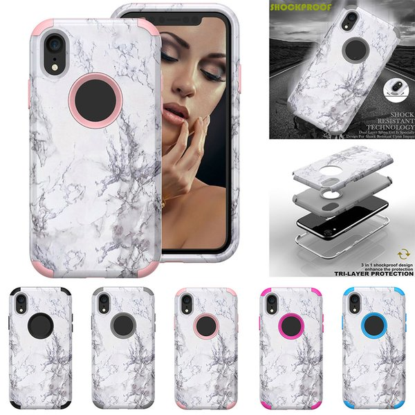 3 in 1 Marble Hybrid Heavy Duty Shockproof Full Body Case for iPhone XS MAX XR 7 8 PLUS Defender Robot Case with OPP Bag