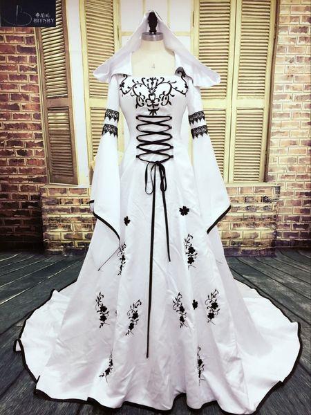Custom Made Robe De Mariage Medieval Wedding Dress Custom Made Bridal Dresses Embroidery A Line White And Black Satin Wedding Dress