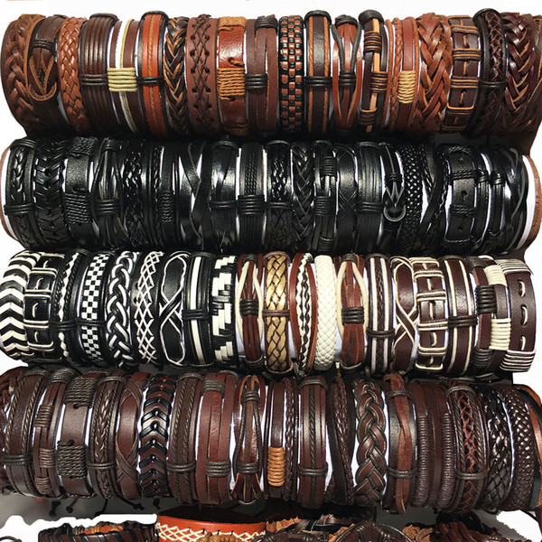 best selling wholesale 100pcs lot Leather Bracelets Handmade Genuine Leather fashion cuff bracelet bangles for Men Women Jewelry mix colors brand new