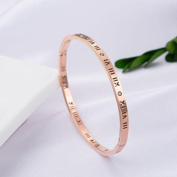 European and American popular titanium steel bracelet neutral simple Roman plated 18K rose gold bracelet open lover jewelry wholesale