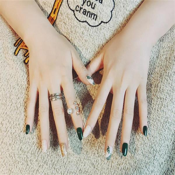 24pcs Tête Ronde Astuces Complètes Outil Artificielle Faux Ongles Avec Colle Été Vert Feuille Motif Faux Ongles Pré-conception