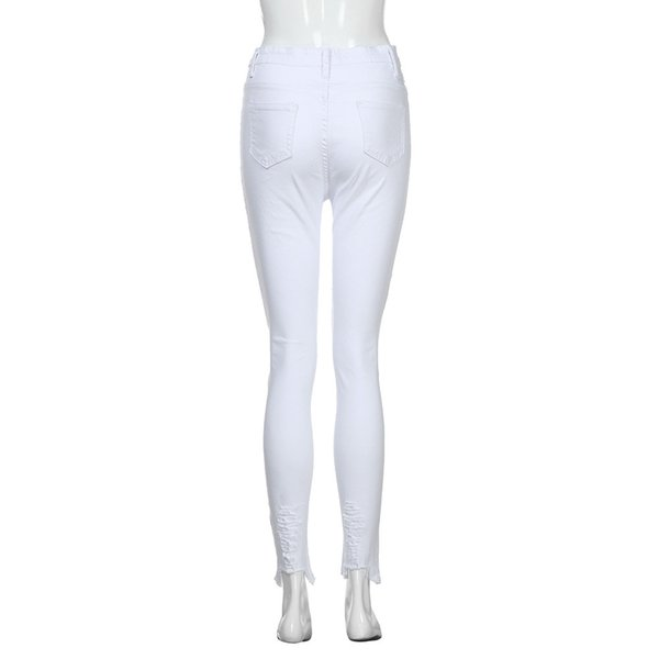 Women Elastic Plus Size Denim Pocket Button Boot Cut Pant Jeans Summer Women's Casual Mid Waist Broken Hole Jeans z0313