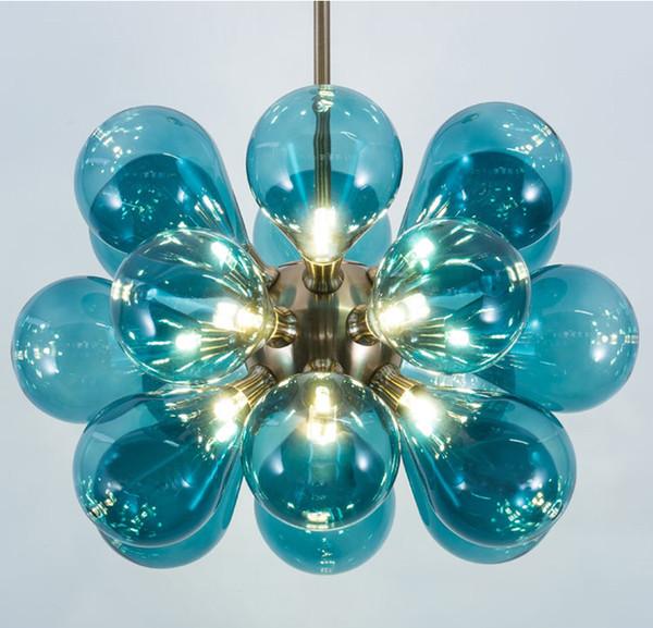 LED Modern Chandeliers Blue Pink Glass Chandelier Light Lighting Living  Room Lustre Children\'S Bedroom Lighting Discount Pendant Lights Modern  Hanging ...