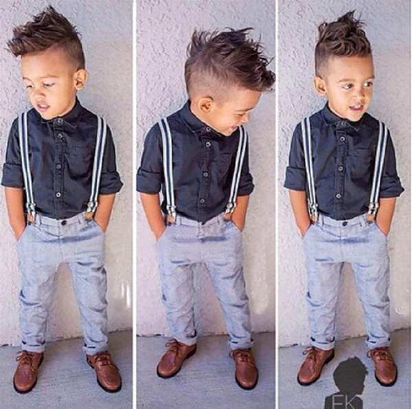 Retail baby boys tracksuit 2 piece designer outfits gentleman shirt+suspender trousers casual tracks suit sets childrens boutique clothing