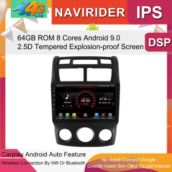 Car Multimedia Player 9inch IPS Screen Monitor GPS tape recorder Bluetooth Android 9.0 For KIA Sportage 2004-2010 AT Auto Audio car dvd