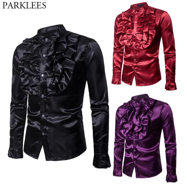 Camicia di seta del fiore di alta qualità Uomini 2018 Slim Fit manica lunga Tuxedo Camicie da uomo Mens camicia da sposa rosso nero viola del partito maschile