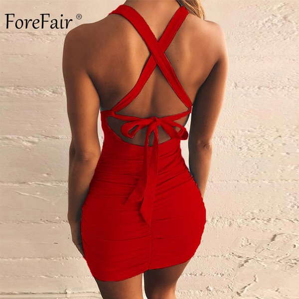 Forefair Women Club Dress Bandage Cut Out Sexy Mini Ruched Backless Lace Up Off Shoulder Bodycon Black Red Party Dress Summer Y19051001