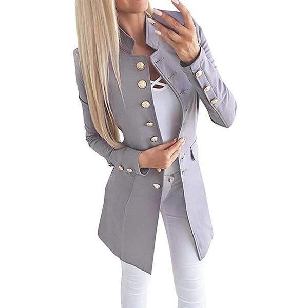 Damenmode Einreiher Langarm-Blazer 2019 New Solid Color Slim Fit Stehkragen Arbeit Büro Anzug Mantel