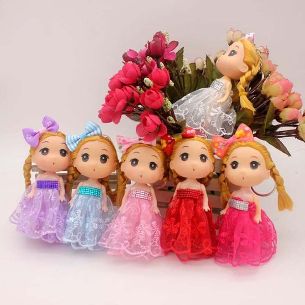 """4.7"""" New Confused Doll in Dress Bow Little Girl Toy 12cm Keychain Baby Dolls Kids Birthday Gift"""
