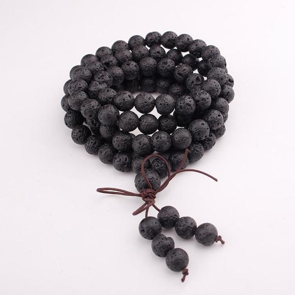 Fashion Jewelry Natural 6mm Stone Buddhist India Style 108 Prayer Stone Beads Gourd Mala Necklace Bracelet For Women Men Gift