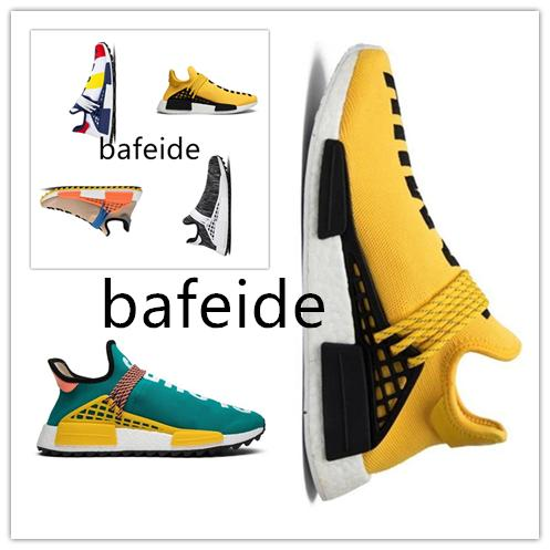 best selling 2019 NMD Human Race Mens Running Shoes Pharrell Williams Sample Yellow Core Black Sport Designer Shoes Women Sneakers 36-45-48.97-4