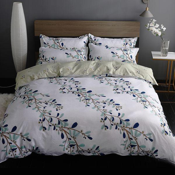 Menainy flower bedding set woman duvet cover set summer pink flat sheet, pillowcase&duvet cover leaf bed linen queen size