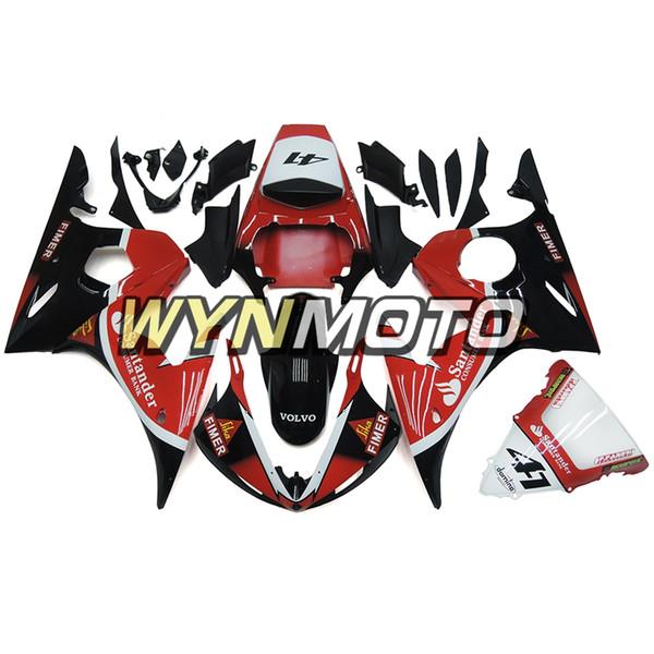 Moulage par injection Santander Rouge Noir Carrosserie Pour Yamaha YZF-600 R6 Année 2003 2004 Full Plastic Cowling Panels R6 03 04 Coque En Plastique ABS