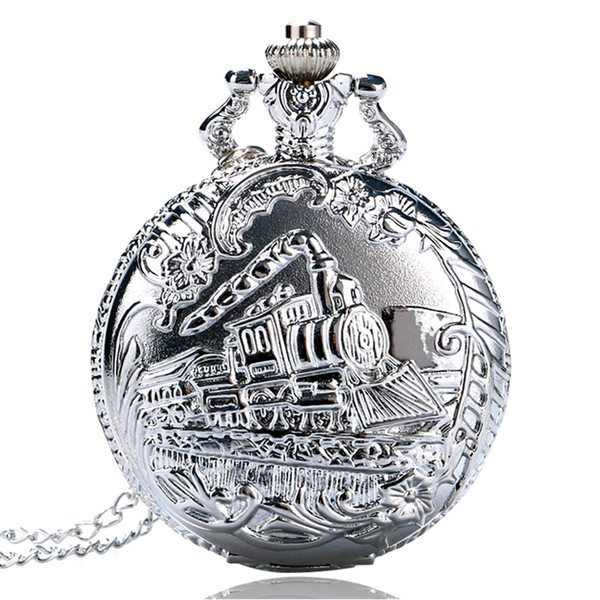 slim Retro Silver Pocket Train with Flower Relogio De Bolso Quartz Watch with Necklace Chain P456