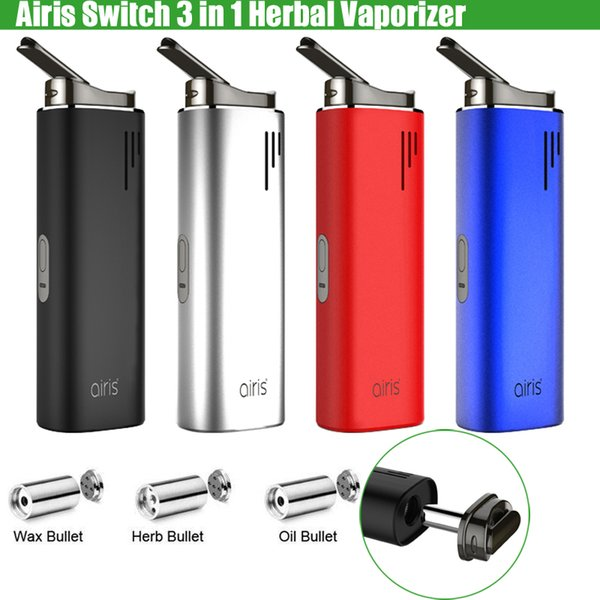Original Airis Switch 3in1 Airistech Dry Herb Herbal Vaporizer Concentrate Wax Thick Oil 2200mAh Battery Vape Pen Kit e Cigs Starter Kits
