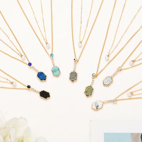 2019 neue vergoldete unregelmäßigkeit stein perle druzy anhänger mehrschichtige drusy kristall halskette für frauen