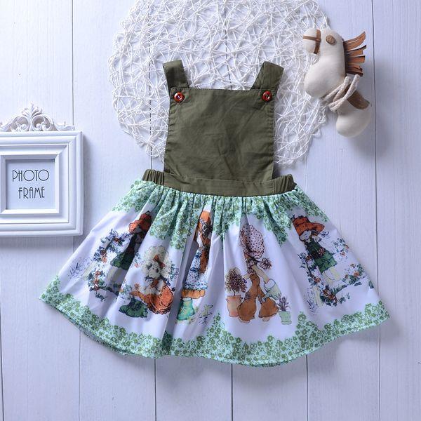 Enfants Filles Cartoons Dos Nu Ruffles Summer Western Dress Ins Vente Chaude Vacances Robes Enfants Mignons
