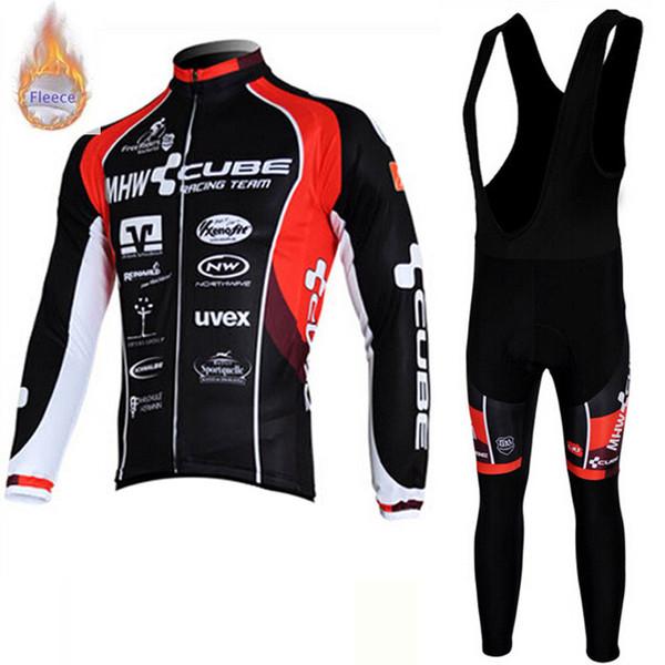 2019 CUBE team hommes cyclisme hiver thermique polaire manches longues maillot ensemble VTT vélo Maillot Ropa Ciclismo pantalon de costume costume vélo Sportswear