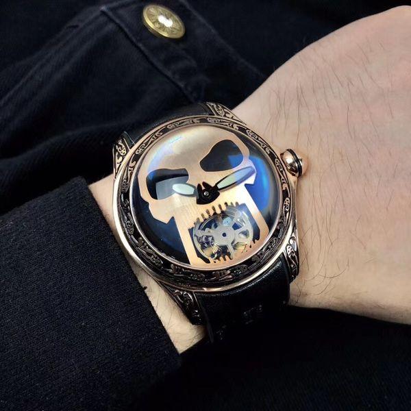 Kunlun Men's Eta Automatic Machinery Watch 45x18mm Florence Carved Shell Sapphire Glass Mirror Skull Gear Literal Cowskin Watch Belt