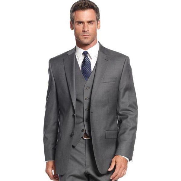 New Custom Made Men Suits Dark Grey Wedding Tuxedos Best Men Slim Fit 3 Pieces Groom Tuxedos Jacket+Pants+Vest