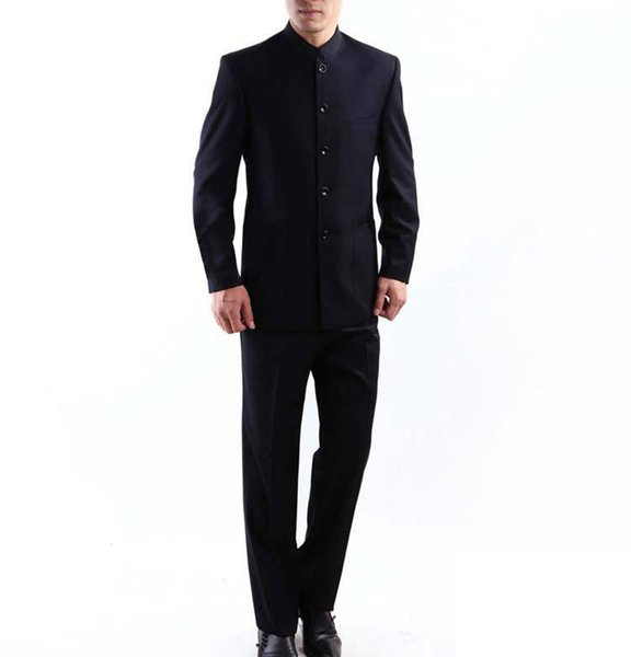 Mens Suit Chinese Tunic Suits Mandarin Collar Formal Black Suit Slim Fit Front Button Groom Wedding Blazer Pants