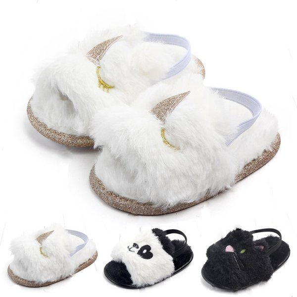 Baby Fur sandals 2019 new summer Fashion Kids unicorn cat panda Slippers infant First Walkers newborn Walkers shoes C01