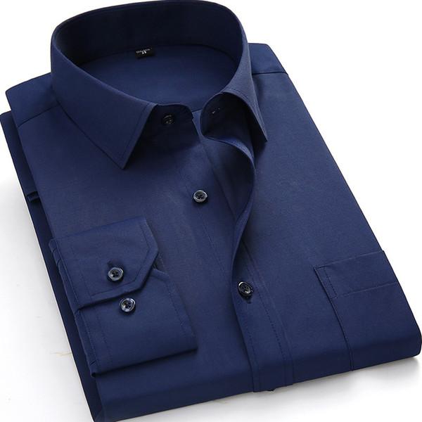 Plus Large Size 8xl 7xl 6xl 5xl Mens Business Casual Long Sleeved Shirt Classic White Black Dark Blue Male Social Dress Shirts Q190428