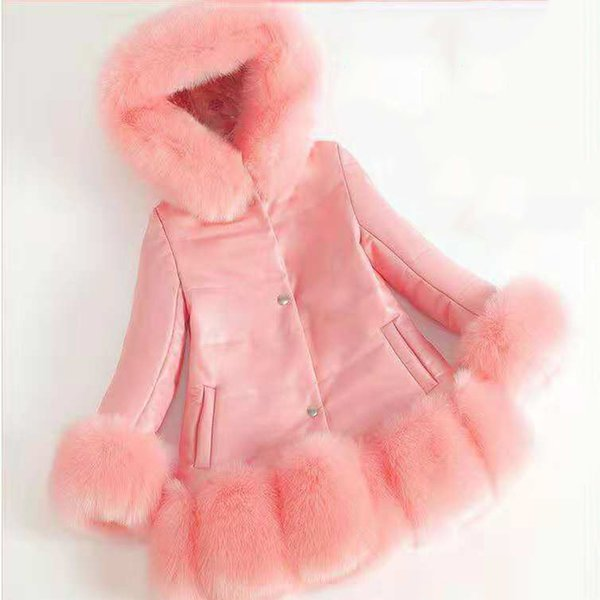 New Arrival Children Kids Girl Clothes Faux Fur 3 Colors Coats Autumn Winter Girls Clothing Hoodies Outerwear Girls Jacket Coat