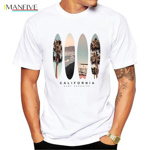 Vintage Beach Manzara Baskı Erkekler Tişört Kısa Kollu Casual Tee Gömlek Hipster Serin Tops Retro Tişörtlü O207