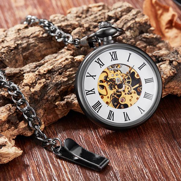 Gorben Roman numérique mécanique Montre de poche antique Collier de luxe FOB Montre exquis Montres de poche Cadeaux unisexe