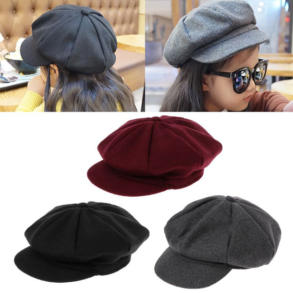 9a248ccd20e Autumn Winter Beret Hat Caps Baby Kids Boys Girls Woolen Newsboy Artist Flat  Cap Baby Girl Hats 2019