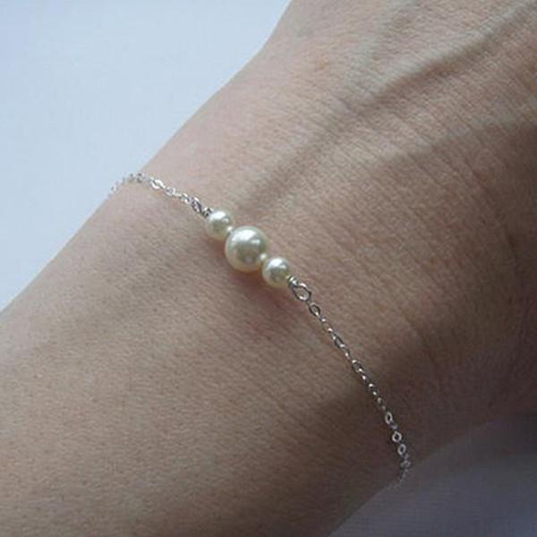 Or / Argent Perles D'imitation Accessoire Bracelet Chaîne Femmes Bijoux De Mode Charme Dame Poignet Ornements Pour Le Cadeau