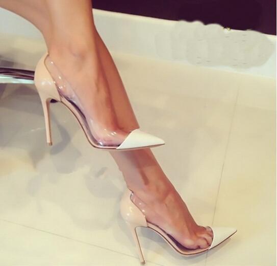 Damenschuhe Gleiche zu Gianvito Rossi 2015 Neueste Mode Damen High Heels Exklusives Leder und PVC Spitze Pumps Kleid Schuhe