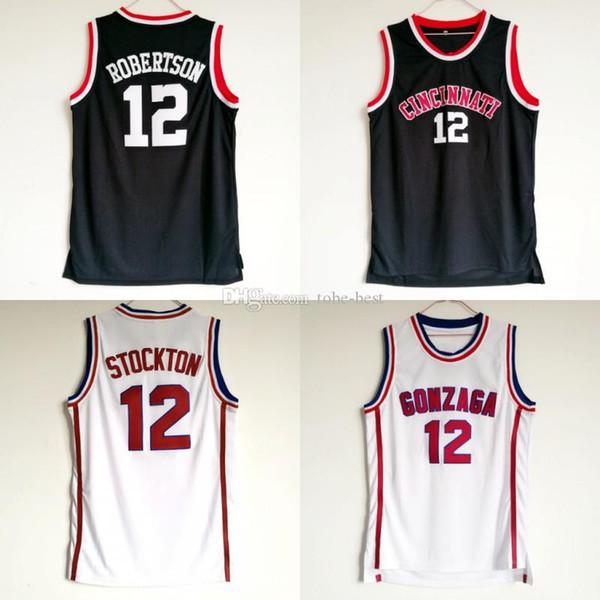 NCAA Oscar Robertson Jersey 12 Università Basketball Cincinnati Bearcats universitario maglie degli uomini di colore nero traspirante Per Sport Fans vendita