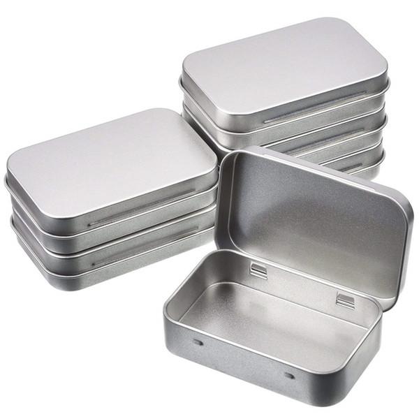 12pcs / set pequeña caja de almacenamiento de metal Caja de almacenamiento de la caja de almacenamiento de lata de plata de estaño para la moneda del caramelo clave del dinero
