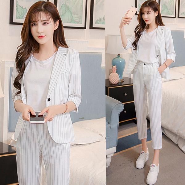 ladies suit Work fashion pants set 2 piece set Spring new Stripe suit jacket jacket pants office Youth clothing for women 1084
