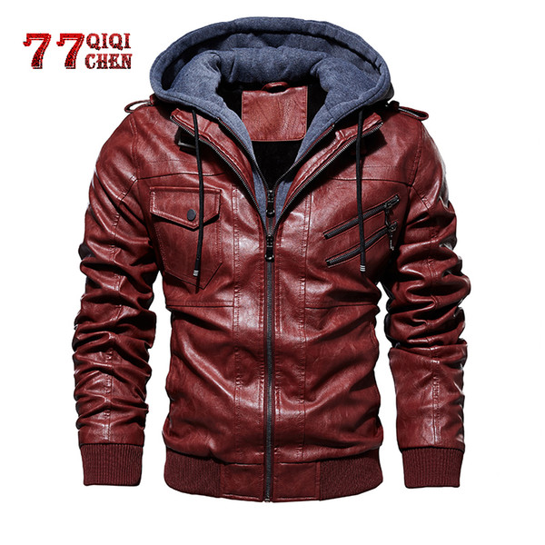 Leather Jacket for Mens Vintage Oblique Zipper Motorcycle Pu Leather Jackets Male Autumn Winter Outwear Jaqueta Masculino
