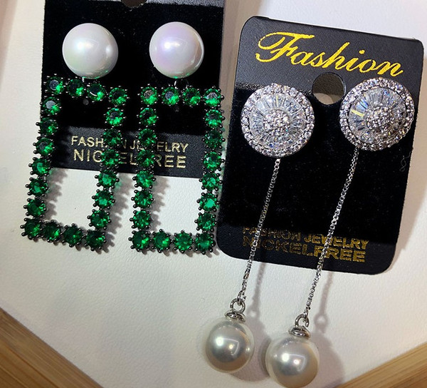 noble low price high quality 2pcs/lots diamond crystal 925 silver random lady's earings more style 12err