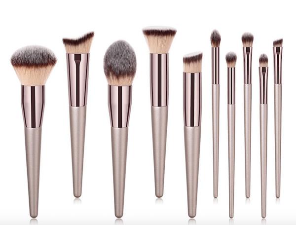 Bonne qualité 10 pcs / set maquillage brosse beauté outils brosses champagne poudre fondation correcteur ombre à paupières pinceaux set 10 sets DHL
